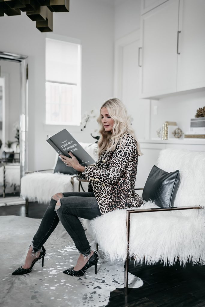 Dallas fashion blogger wearing Veronica Beard leopard blazer