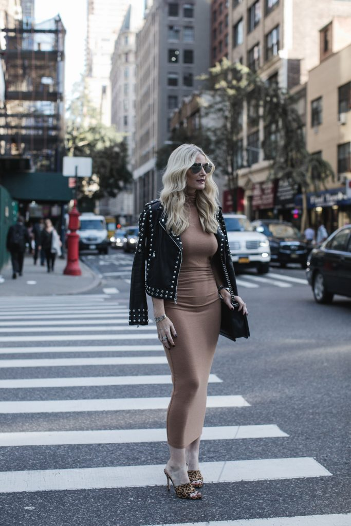 L'agence studded leather jacket on Dallas Fashion blogger
