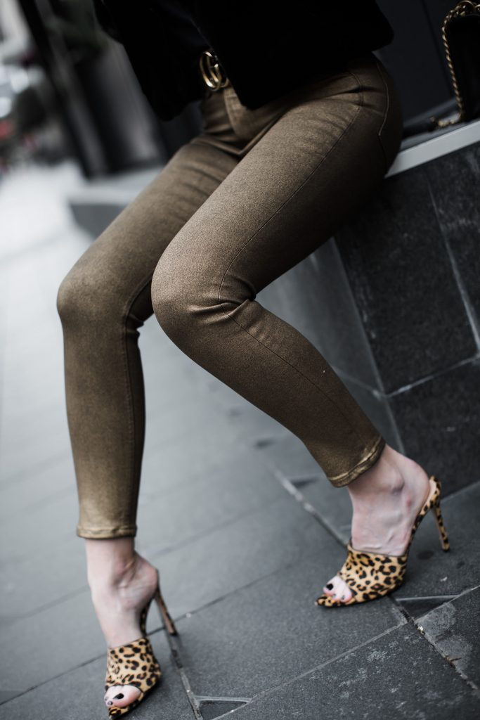 Rag and Bone metallic jeans and leopard jeans