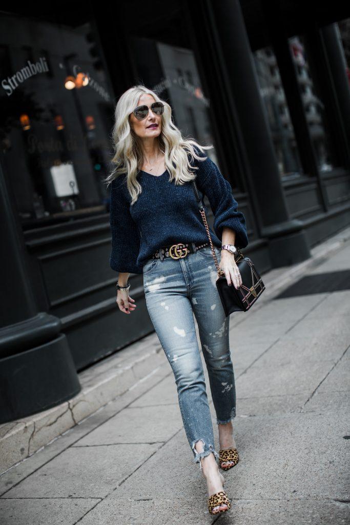 Gucci Belt, 3 x 1 ripped jeans, and Dior handbag