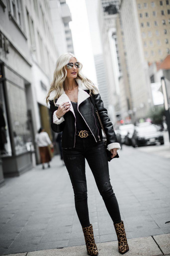 Leopard booties Moussy jeans and Blanknyc Shearling moto jacket