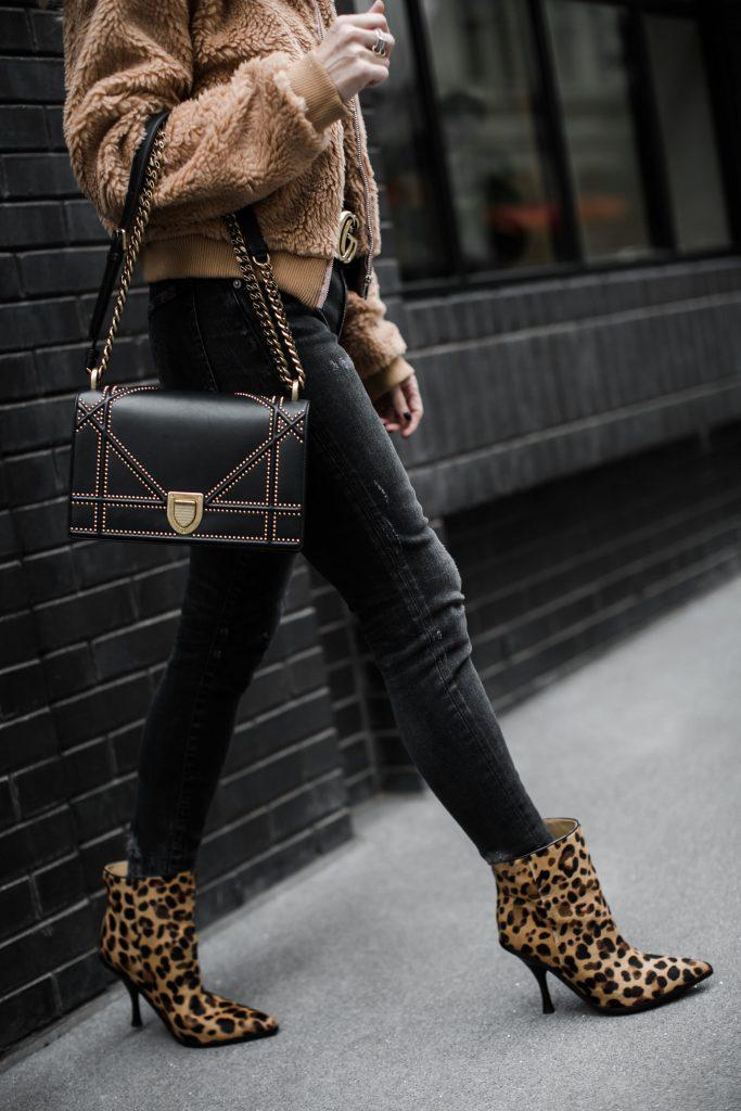 Dallas fashion blogger wearing leopard booties and Dior Handbag