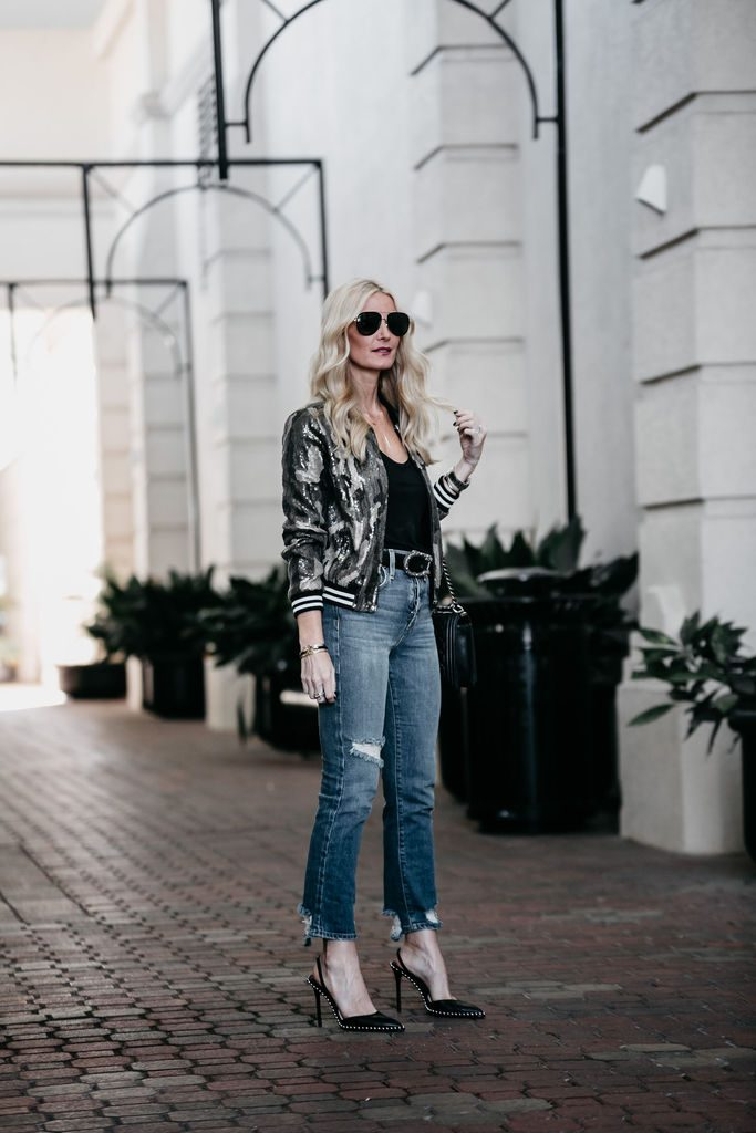 AOLA girlfriend jeans, sequin bomber jacket and Gucci Belt