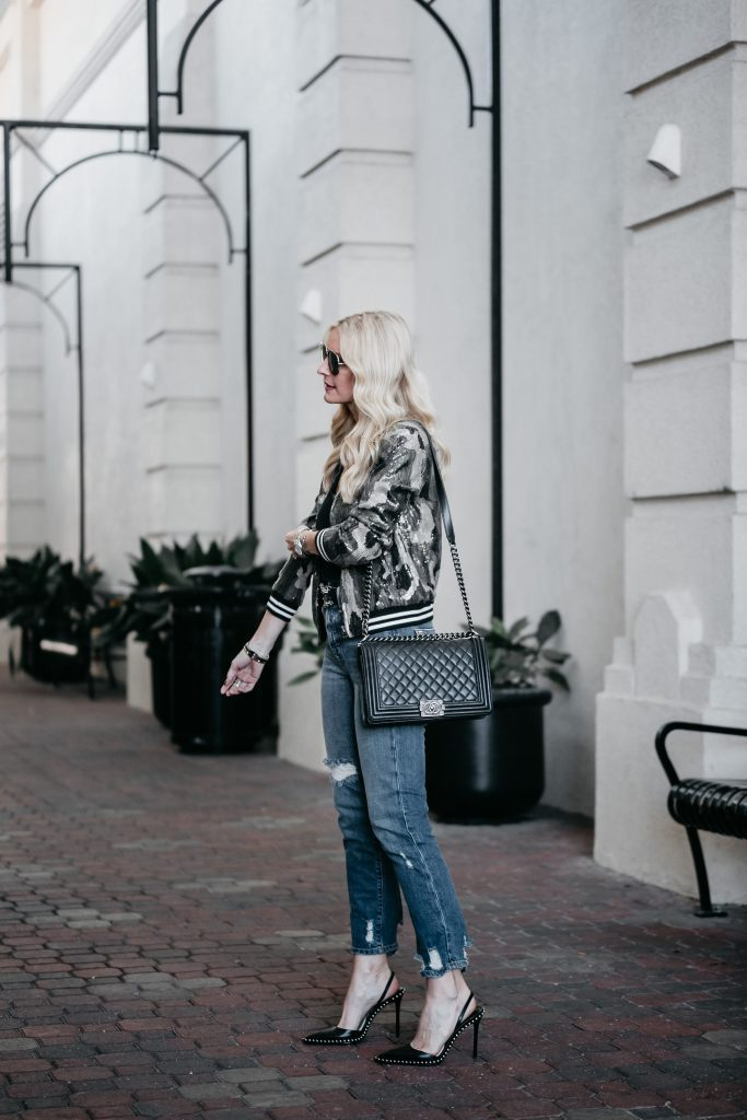 Camo sequin bomber jacket and Chanel Boy Bag