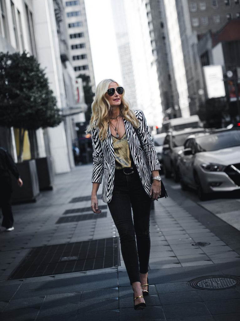 Dallas style blogger wearing Moussy denim and Frame denim blazer