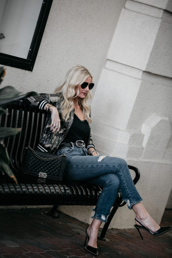 Dallas fashion blogger wearing sequin jacket and Alexander Wang heels