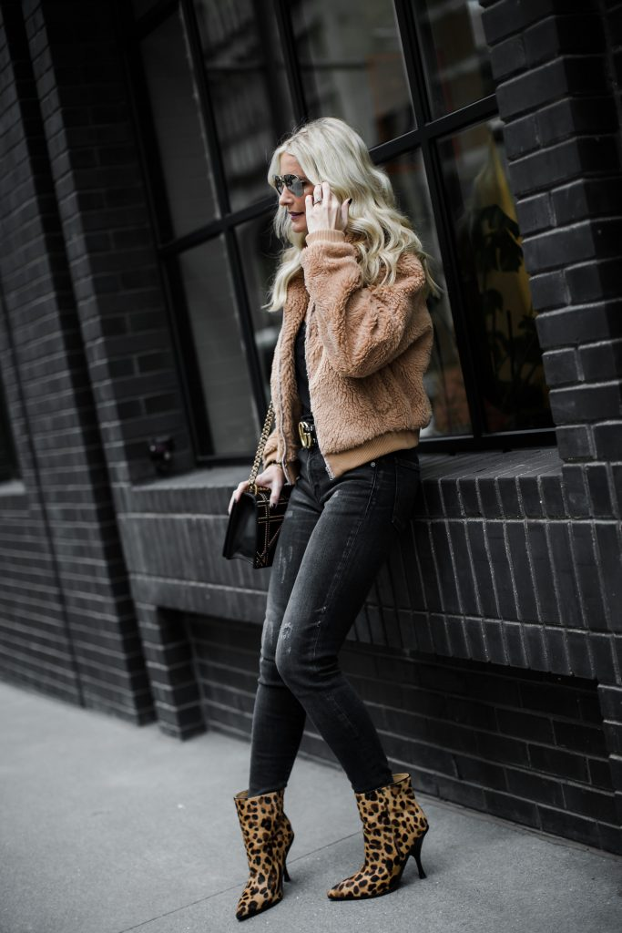 Faux fur jacket, Moussy black ripped jeans, and leopard booties