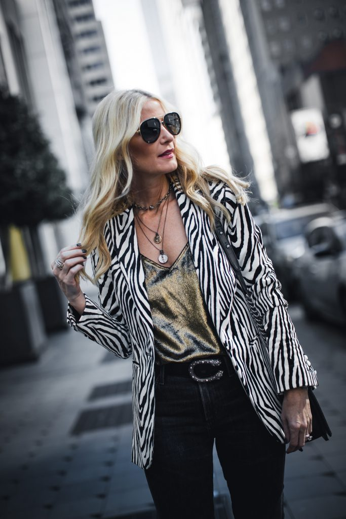 Harper Hallam jewelry and Frame denim zebra print blazer