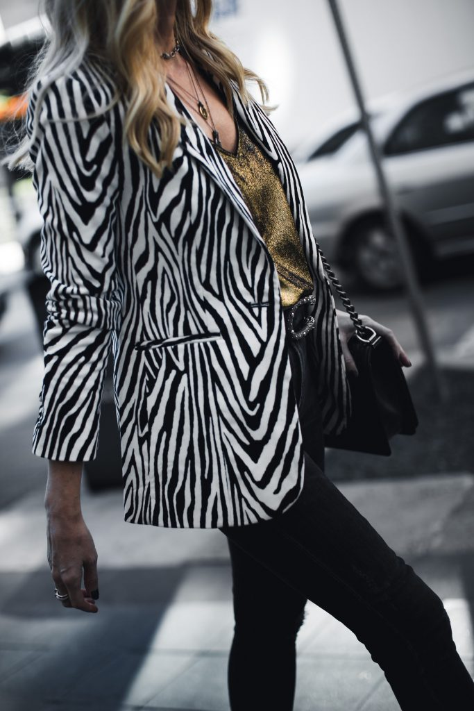 Zebra print blazer and Gucci belt on Dallas style blogger