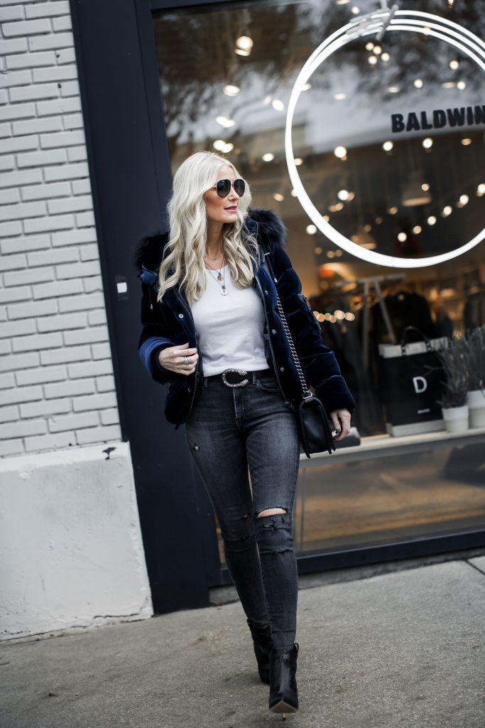 Jocelyn Fur Velvet puffer jacket and Agolde jeans