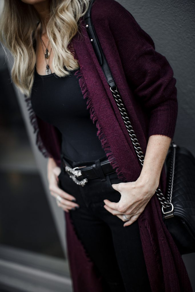 Burgundy fringe cardigan and Gucci belt