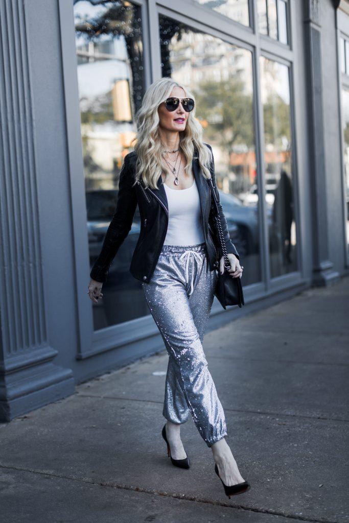 Dallas fashion blogger wearing Iro black leather jacket