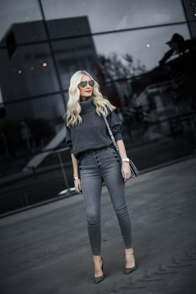 Dallas style blogger wearing J brand jeans and gray Topshop sweater