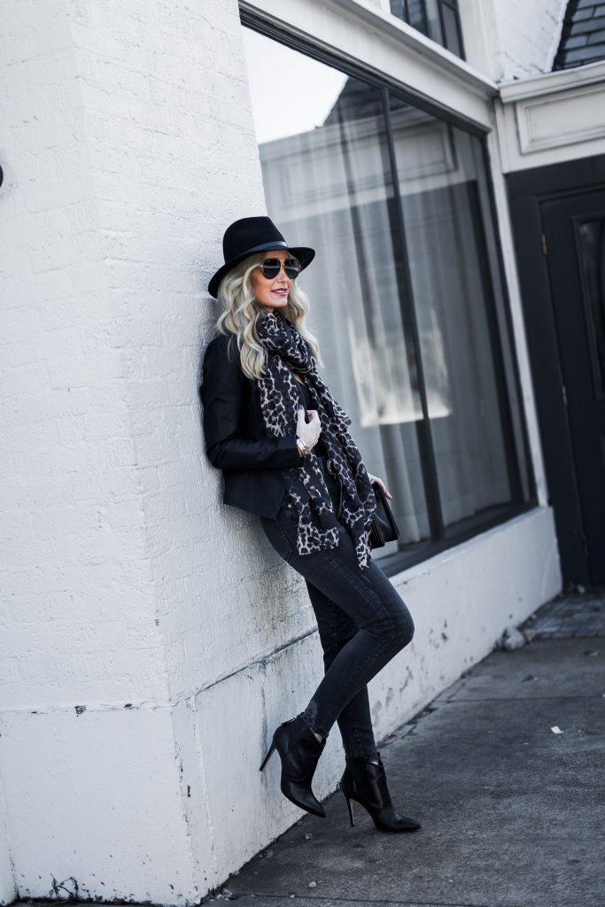 Leopard scarf, Veronica Beard ankle booties, and black fedora hat