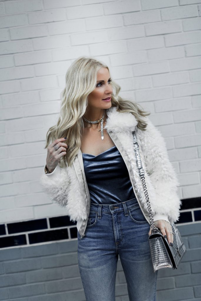 Faux fur jacket on Dallas blonde woman