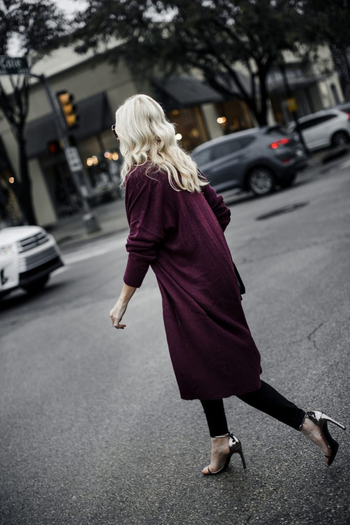 Burgundy cardigan on Dallas fashion blogger