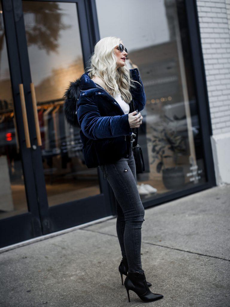 Dallas blogger wearing velvet puffer jacket