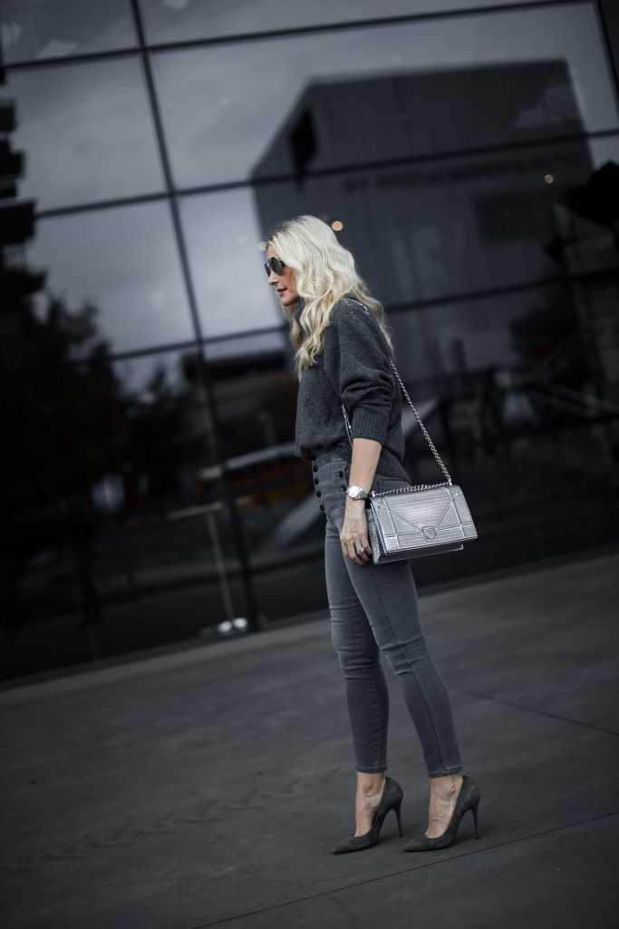 Dallas fashion blogger wearing Natasha J Brand jeans and silver Dior bag