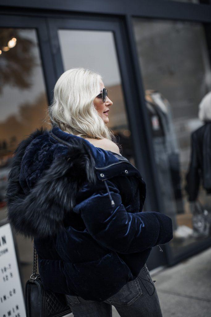 Dallas style blogger wearing Jocelyn fur velvet puffer jacket
