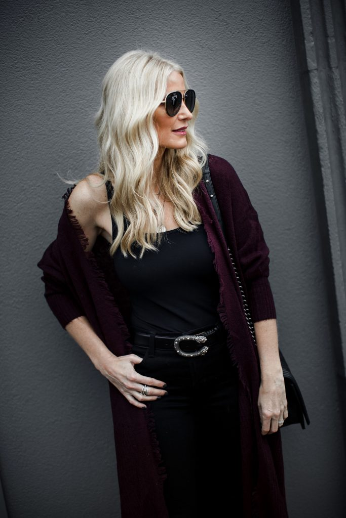 Burgundy cardigan holiday look on Dallas fashion blogger