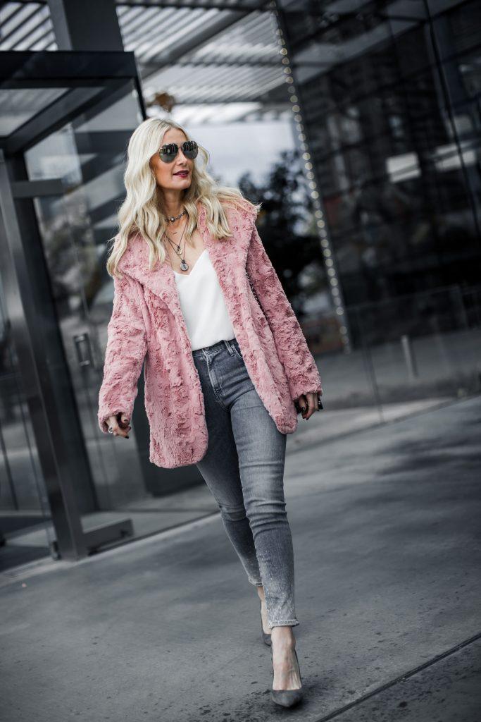 Dallas fashion blogger wearing pink teddy coat
