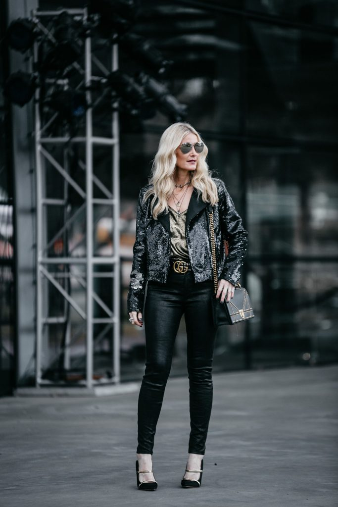 Dallas style blogger wearing Rachel Zoe Sequin moto jacket