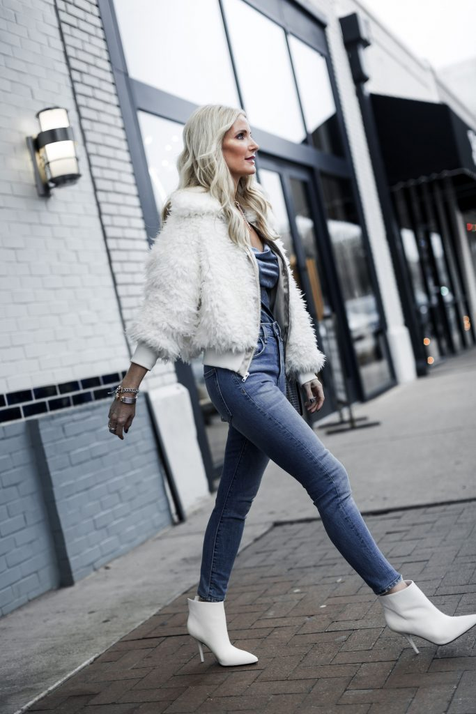 Dallas blogger wearing Marc Fisher white booties