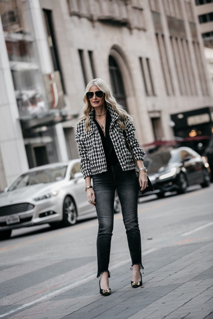 Dallas blogger wearing a Chanel style jacket and Balenciaga heels