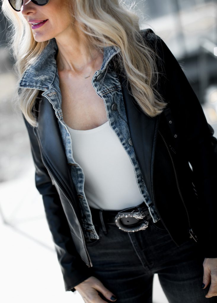 Dallas fashion blogger wearing distressed jeans and white bodysuit