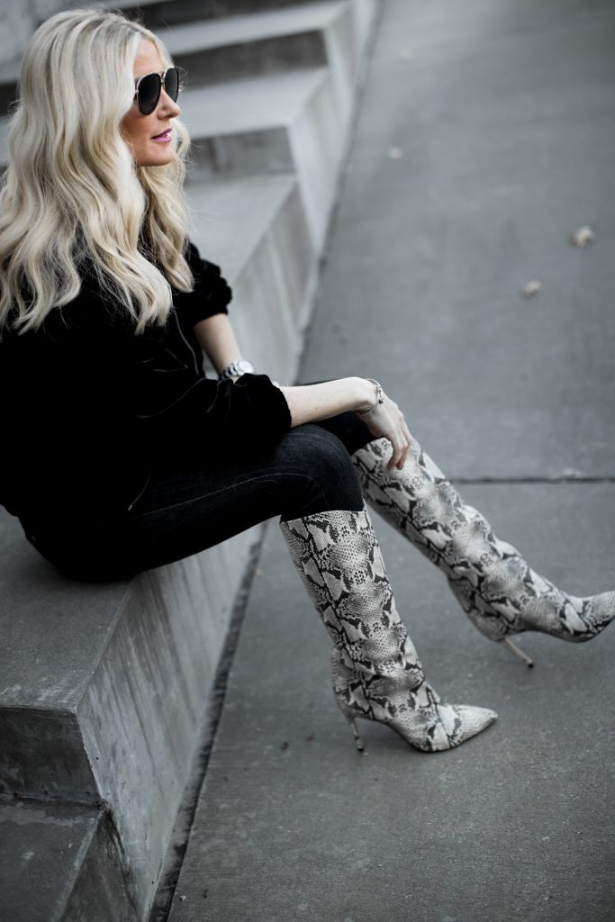 Dallas fashion blogger wearing Schutz snake print boots