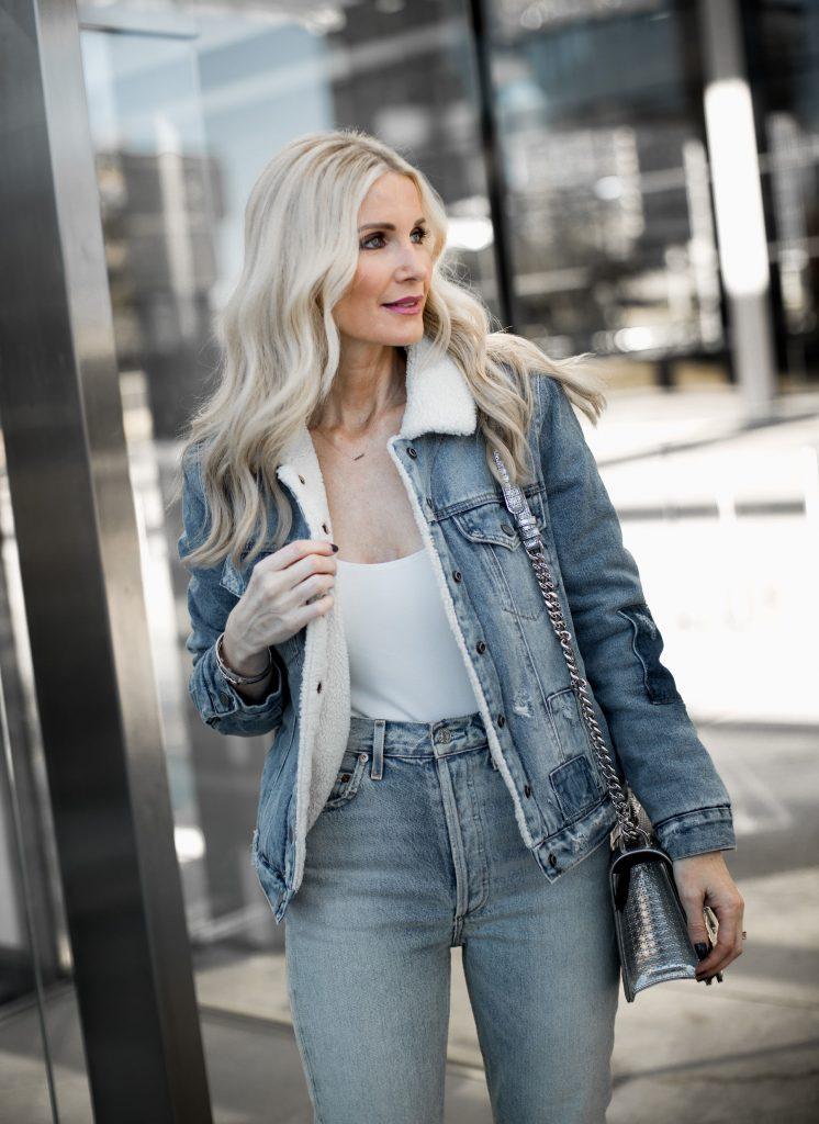 Dallas blogger wearing double denim