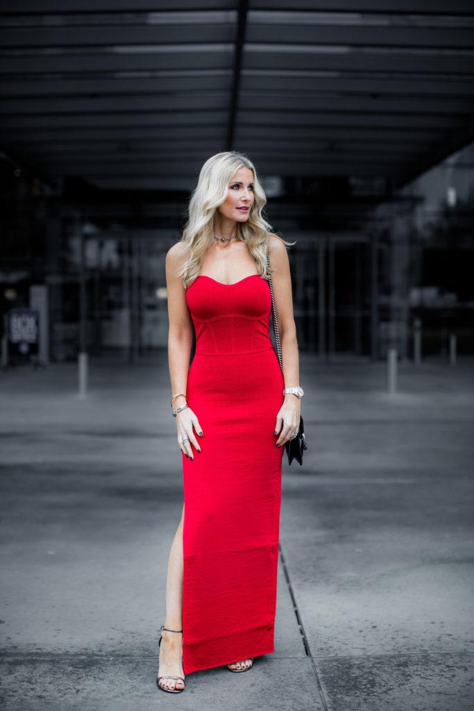 Dallas blogger wearing red maxi dress