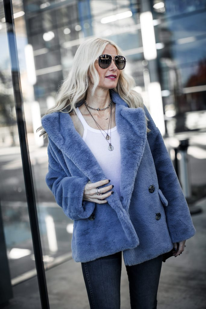 Dallas fashion blogger wearing Free People faux fur jacket