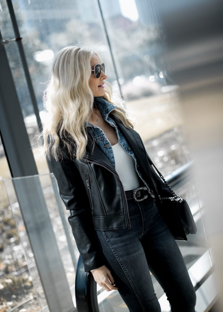 Dallas fashion blogger wearing Blanknyc moto jacket