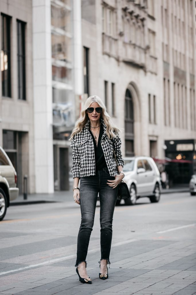 Dallas fashion blogger wearing 3x1 gray skinny jeans and Balenciaga heels