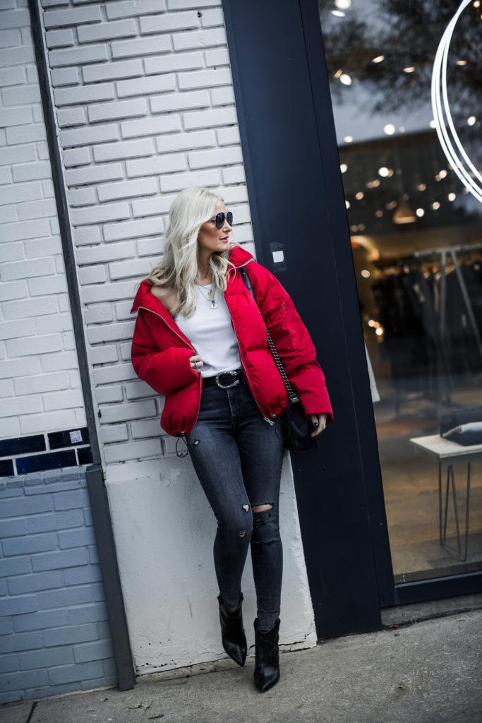 Karen Kane puffer jacket and Agolde black skinny jeans
