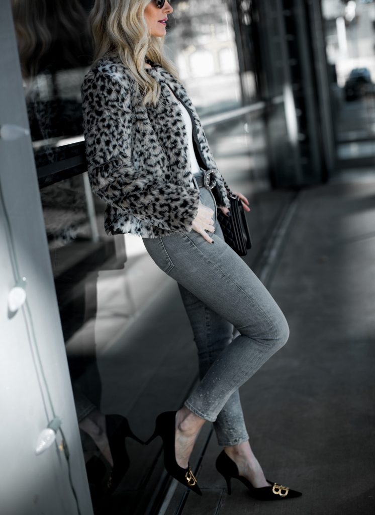 Dallas blogger wearing Citizens of Humanity jeans and leopard teddy coat
