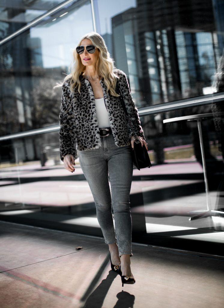 Leopard teddy coat, gray skinny jeans, and Balenciaga heels