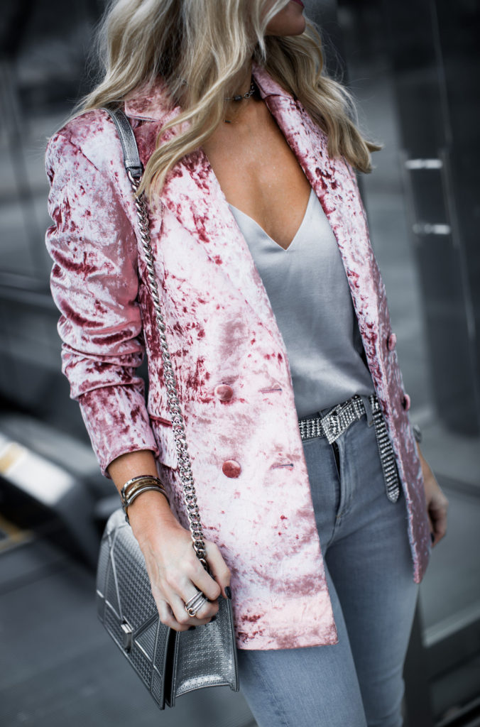 Dallas blogger wearing Topshop velvet blazer and silver cami