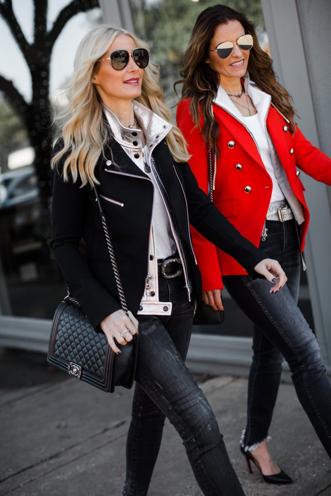 Dallas blogger wearing Veronica Beard blazer and Chanel Boy Bag