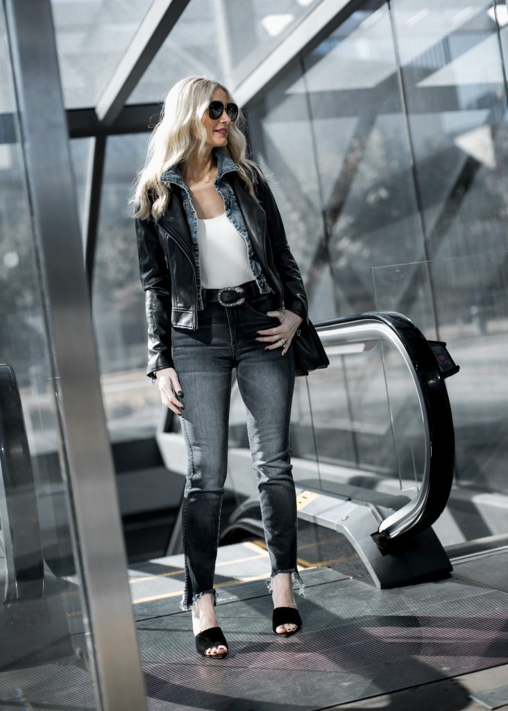 Dallas blogger wearing 3x1 denim and black leather jacket
