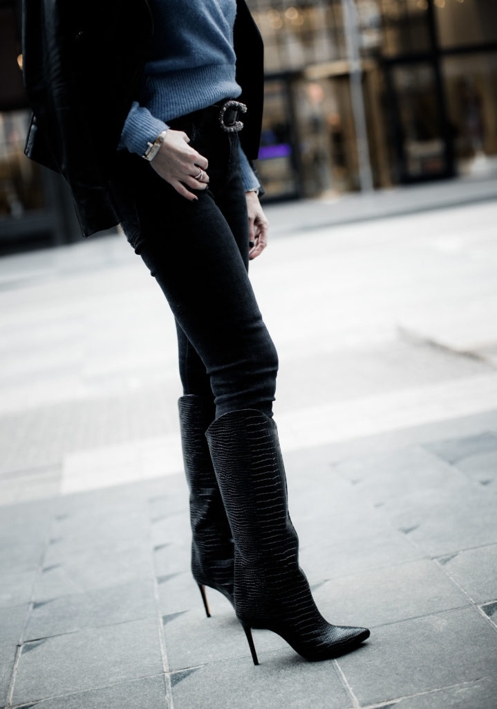 Schutz knee high boots on Dallas blogger
