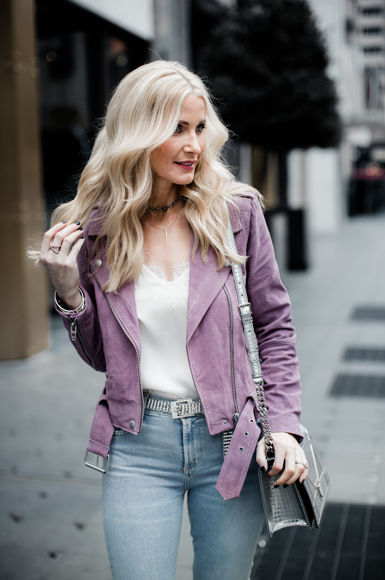 Dallas style blogger wearing Caminyc top and Blanknyc moto jacket
