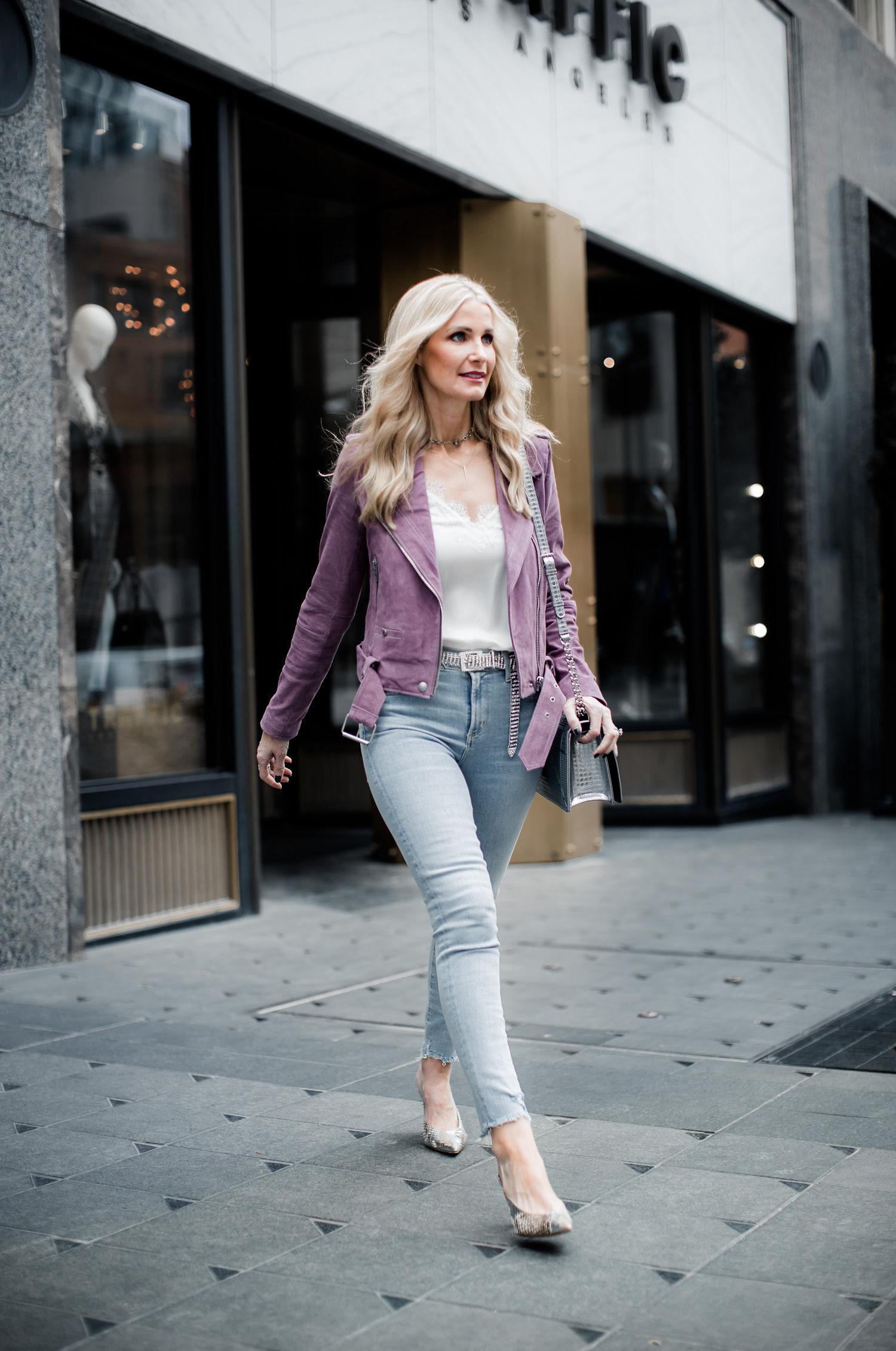Dallas fashion blogger wearing Blanknyc suede moto jacket