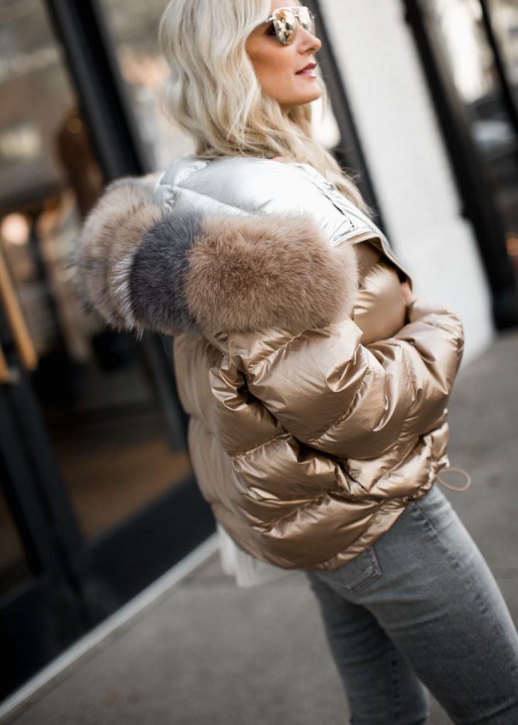 Dallas fashion blogger wearing Harper Hallam puffer jacket