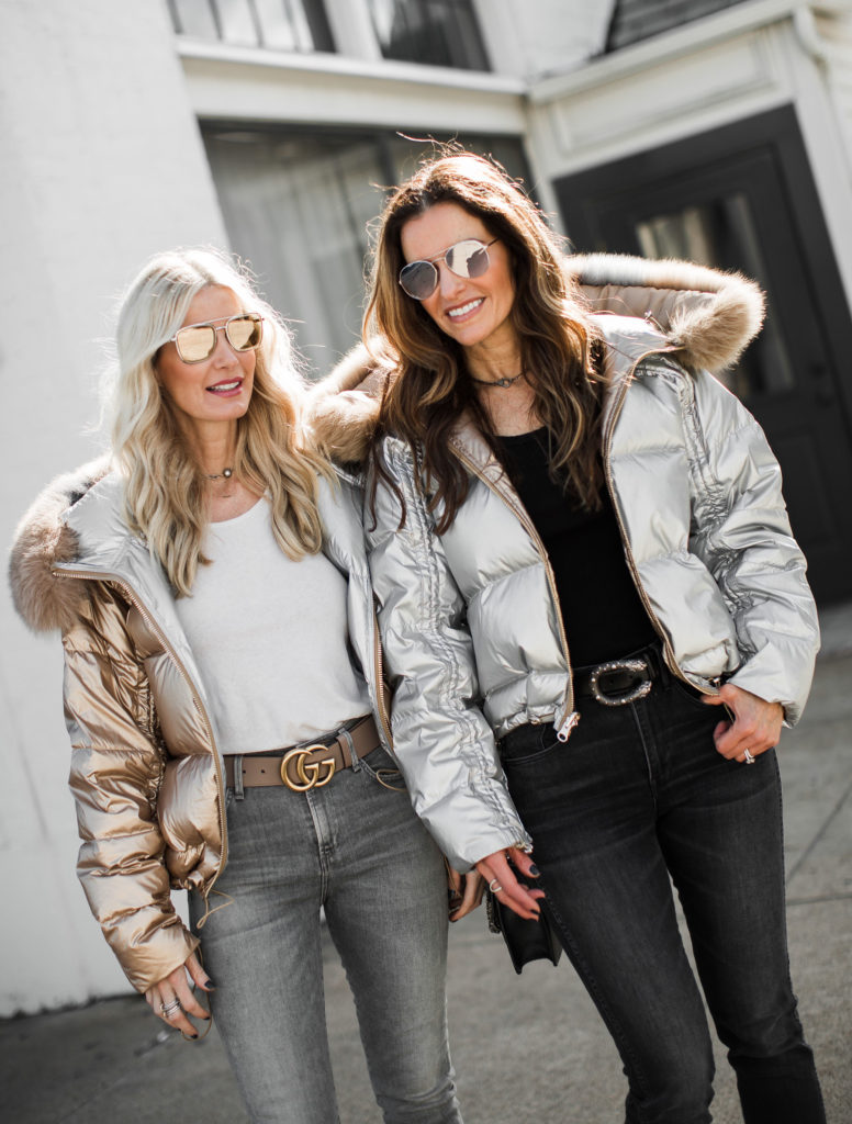 Dallas bloggers wearing Harper Hallam fur puffer jackets and Gucci belts