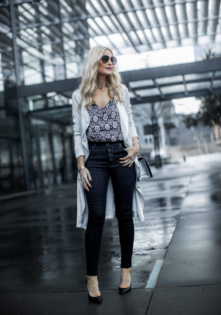 Dallas fashion blogger wearing Parker Smith jeans and snake print cami