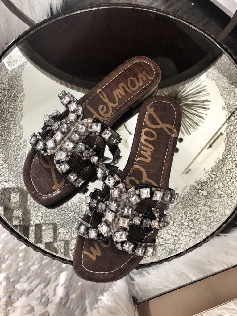 snake print jeweled sandals by Sam Edelman