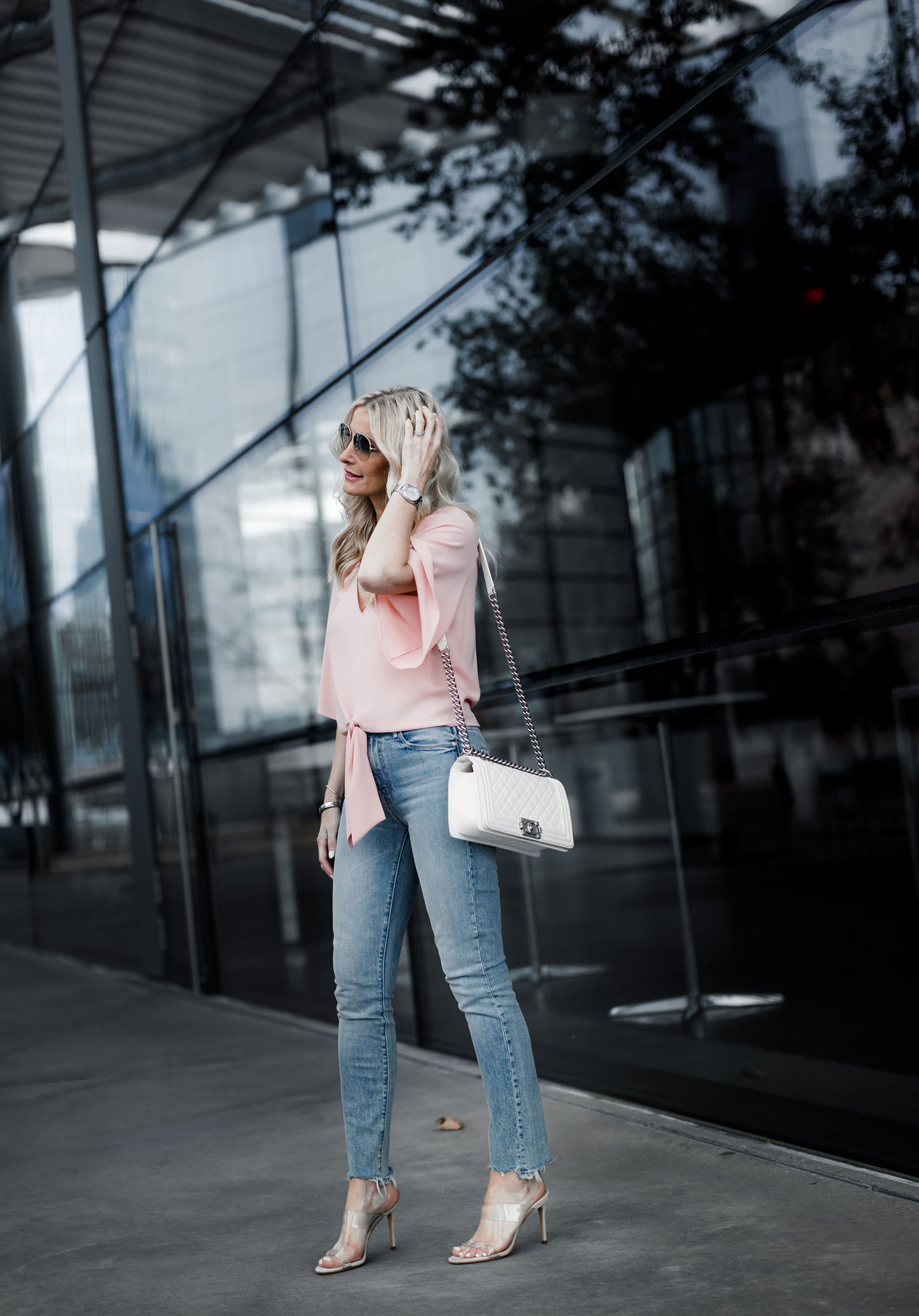 White Chanel Boy Bag and Mother denim skinny jeans