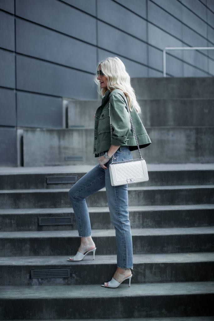 Dallas blogger wearing army jacket and Citizens of Humanity straight leg jeans